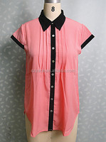 2014 Pink And Black Casual Chiffon Lady Readymade Blouses