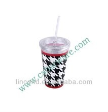 16oz double wall insulated hard plastic cup with lid and straw for kids