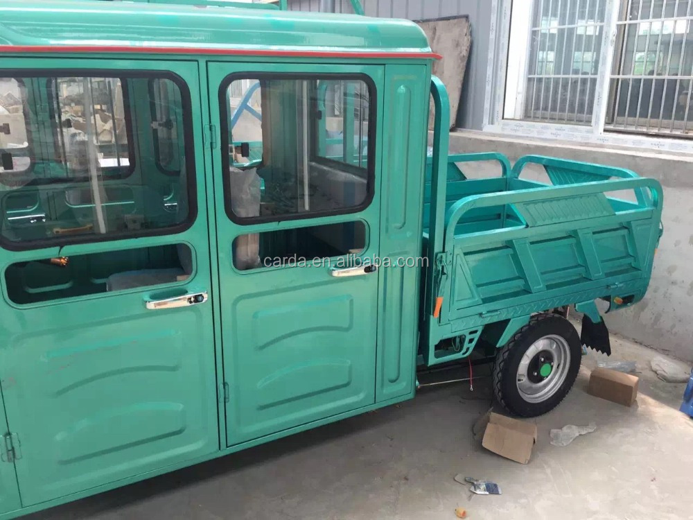 Enclosed Electric Tricycle TWO ROWS with van for both passenger and Cargo