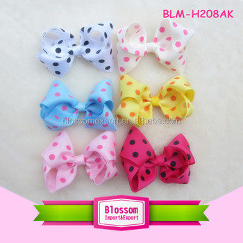 Factory cheap custom design child grosgrain bow nylon headband clips fabric kids hair baby