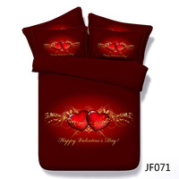 Valentines Day Red Hearts and Gold Hd Digital print 3d bedding