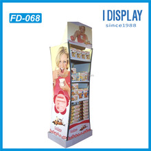 high quality supermarket advertising promotion cardboard floor display for chocolate powder