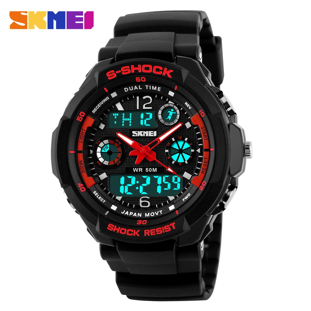 free shipping 2016 G style double japan quartz digital led movt unisex sports swim 3atm waterproof diver skemi 0931 wrist watch