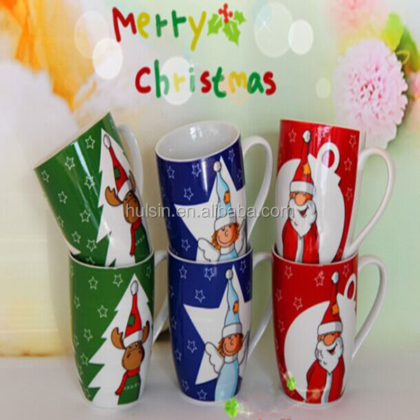 Customized Promotional snowman decal common shape ceramic coffee mug for Christmas Day