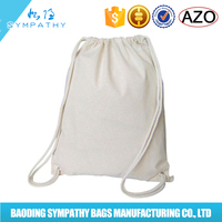 White Cotton Canvas Drawstring Cinch Backpack bag