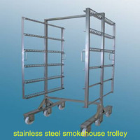 Stainless steel smokehouse trolley