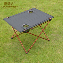 Folding Table Portable Foldable Table Desk Camping Outdoor Picnic Aluminium Alloy Ultra-light with Drink Holders and Carry Bag