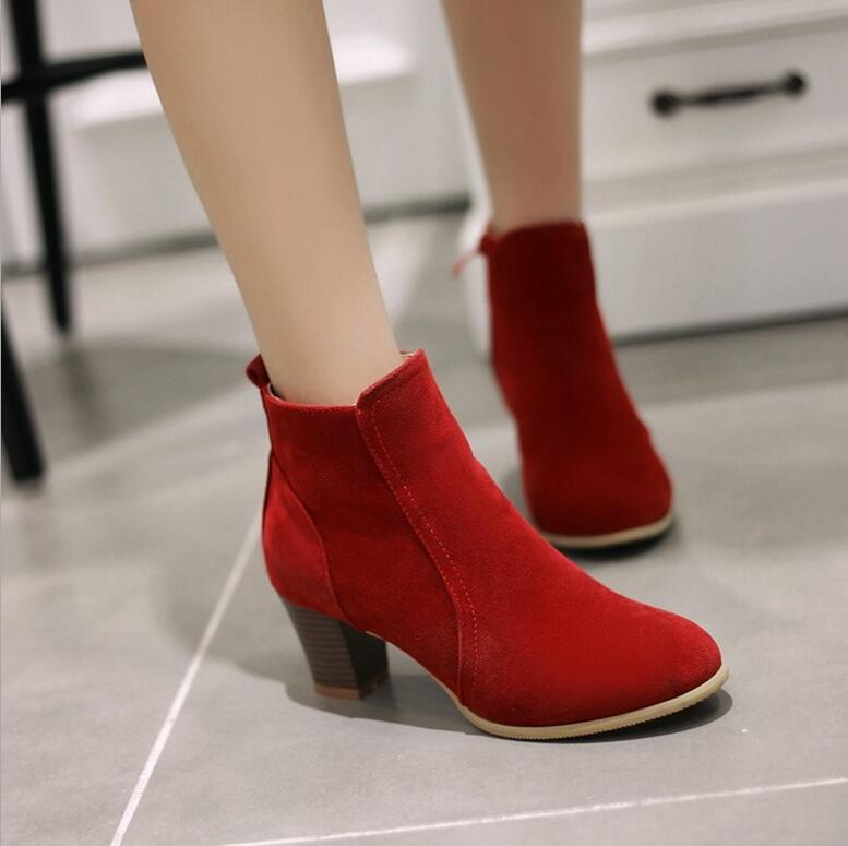 2017 New arrival ankle boots ladies Pointed Toe fashion waterproof boots