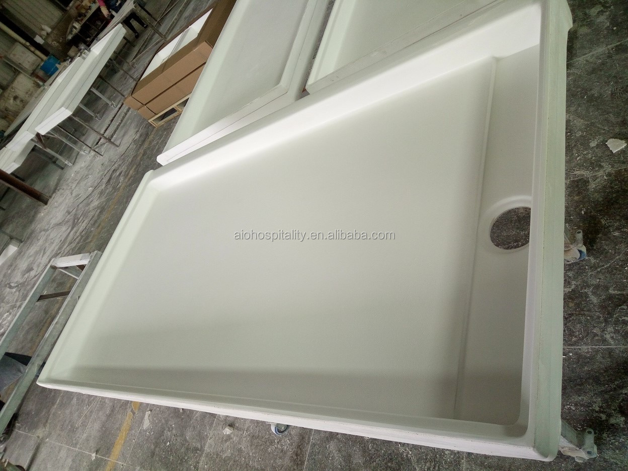 "60""*34"" US Hotel Cultured Marble Shower Base Cast Marble Shower Tray Cultured Marble Trench Drain Shower Pan"