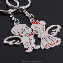 Zinc alloy angel couple keychain