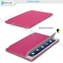 Ultra thin book style auto mangnetic closure flip belk leather smart cover cases for iPad air