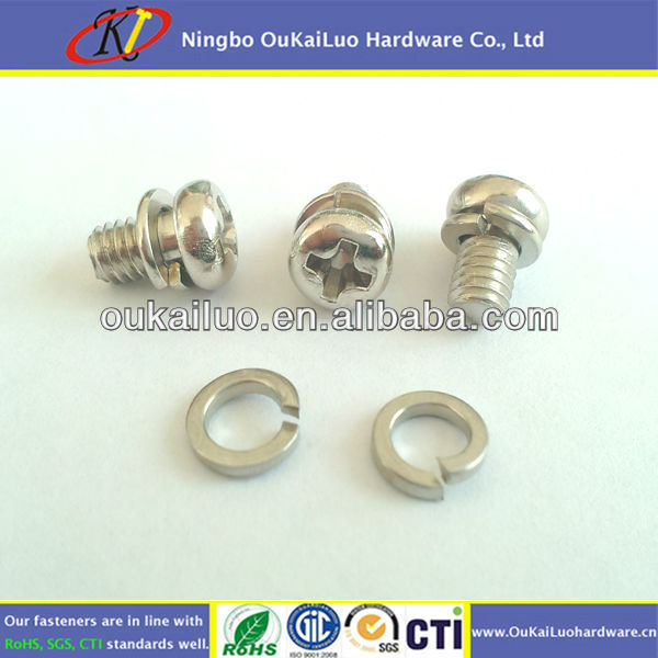 Stainless Steel Philips Pan Head Spring Washer Screw