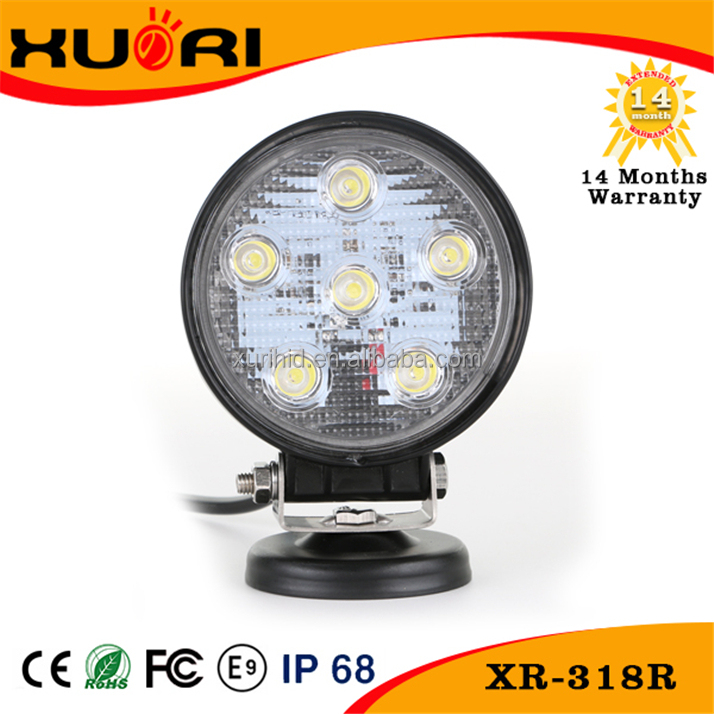 China wholesale atv 4x4 accessories round 18w led work light spot/flood led driving light