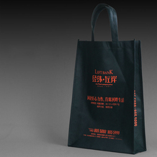 Promotional cheap logo printable reusable black non-woven shopping bags with handles