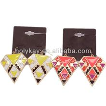 2014 China wholesale fashion earrings jewelry in alibaba, unique design gold plated pyramid shape earrings jewelry