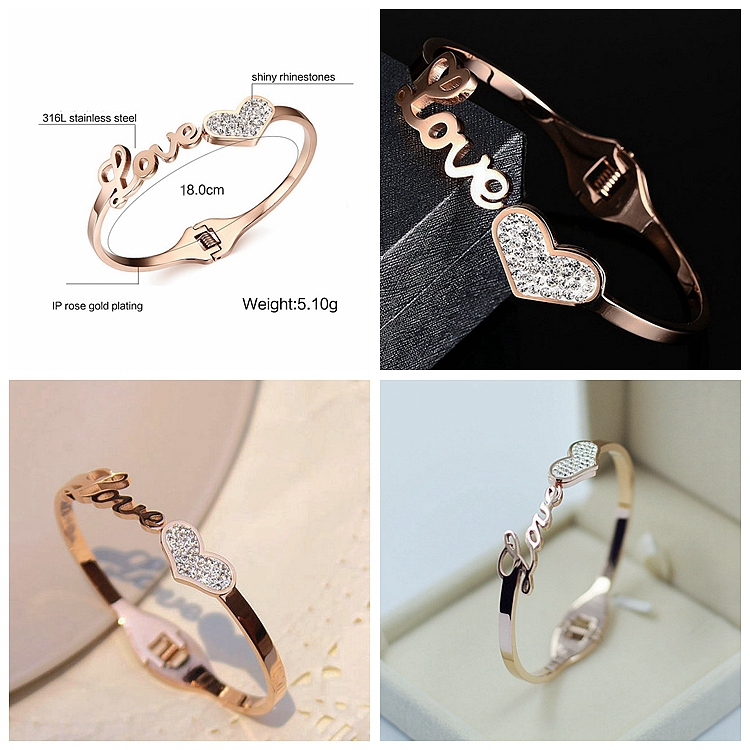 Titanium Steel 18K Rose Gold Heart Crystal Bangle Bracelet, Love Knot Crystal Bangle