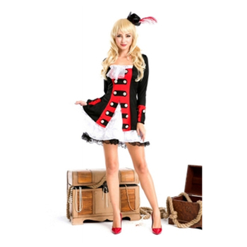 Wholesale women cheap halloween sexy black pirate costume and lace patchwork
