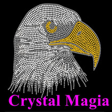 2017 bling crystal rhinestone eagle hot fix rhinestone motif Sparkle transfer