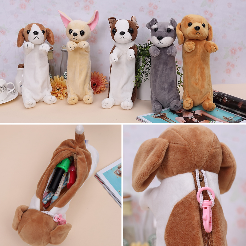 animal plush toy pencil case Students cute dog pen bag pencil bags wholesale gift plush toys factory plush toy custom