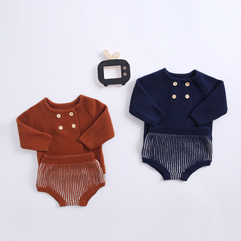 2019 autumn baby cotton knit men and women baby lantern shorts long sleeve cardigan two-piece suit