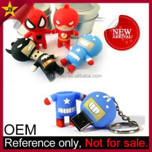 OEM promotion gift cheap custom soft pvc mini superhero usb flash drive
