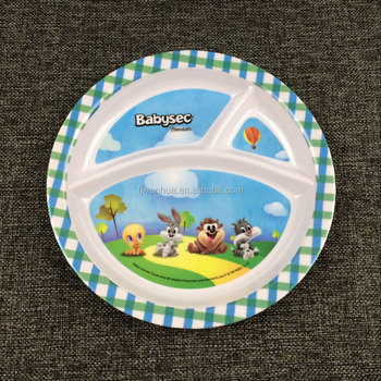 Melamine divided kids plates