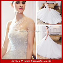 WD067 Sheer one shoulder soft tulle white puffy wedding dress with diamonds alibaba bridal gowns