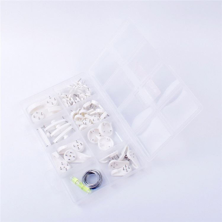 Professional made many types plastic invisible traceless hardwall hanger hook assortment for picture photo frame hanging