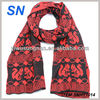 squirrel print black and red winter scarf for women