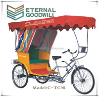 "Hot sale rickshaw bike bicycle with 26"" sigle speed passenger bike for trival used for 4 person trike bike"