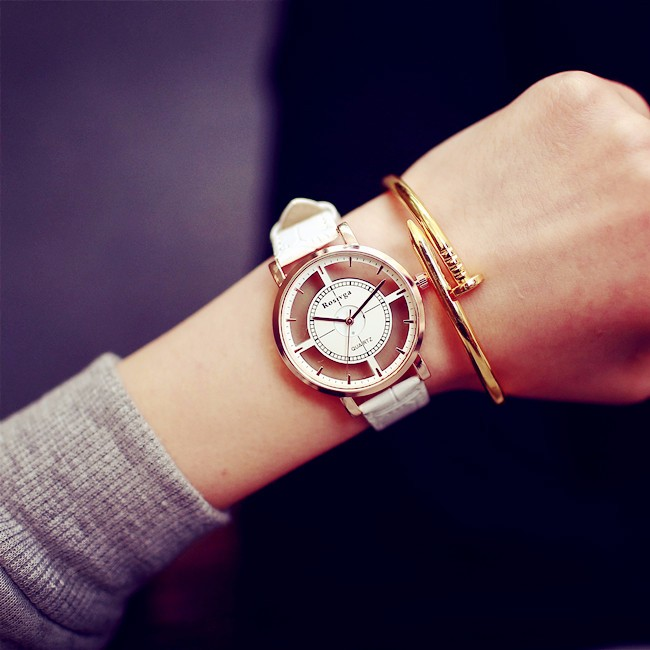 Fashion Women Watch Luxury Unique Stylish Double Hollow Lady Watches Elegant Casual Quartz Wristwatch Gift Girls Clock