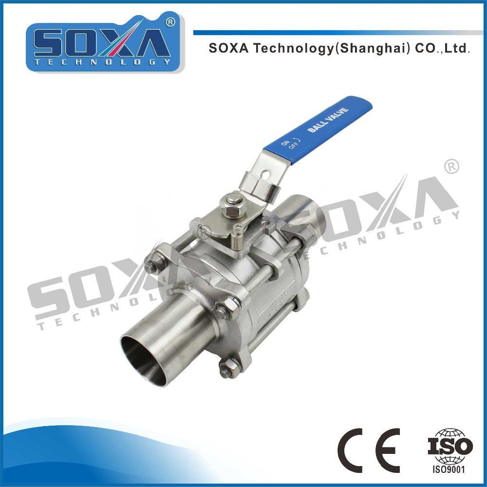 304 cast stainless steel hygienic welded three pieces ball valve