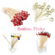 12cm Cocktail Skewer Bamboo Ball Picks Party Loop Sticks For Food