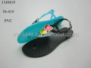 low price hot sale oil drip decoration strap filp flops flat jelly lady sandals