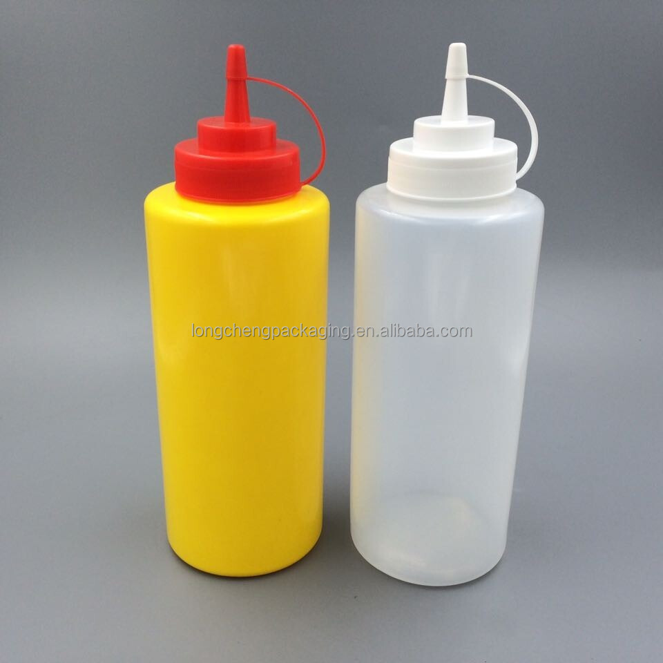 Soft 1 litre plastic squeeze bottle for ketchup