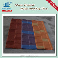 SHINGLE DESIGN COLORFUL STONE COATED STEEL ROOFING TILE factory