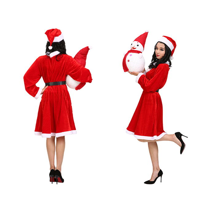 Hot Selling Adult Lady Christmas Party Dress Costume Santa Cosplay Red Dress