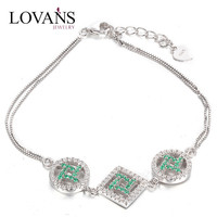925 Sterling Silver Green Crystal Cham Bracelet FB034