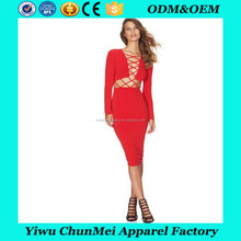 Womens sexy Dresses Party night Club Dress Long Sleeve Criss Cross Front Bodycon Bandage Women Pencil Black Dress