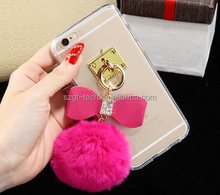 Newest Fashion Luxury Metal Rope Mirror TPU phone Cases Cute Rabbit Fur Ball For iPhone7 7plus Cover For iphone 6 Case