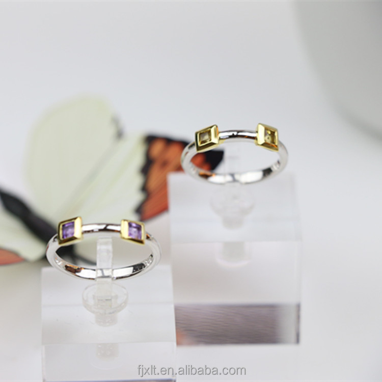 Unique Double Amethyst or Citrine Stone Styles Latest Wedding Ring Designs 2 Gram Gold Gemstone Ring for Women