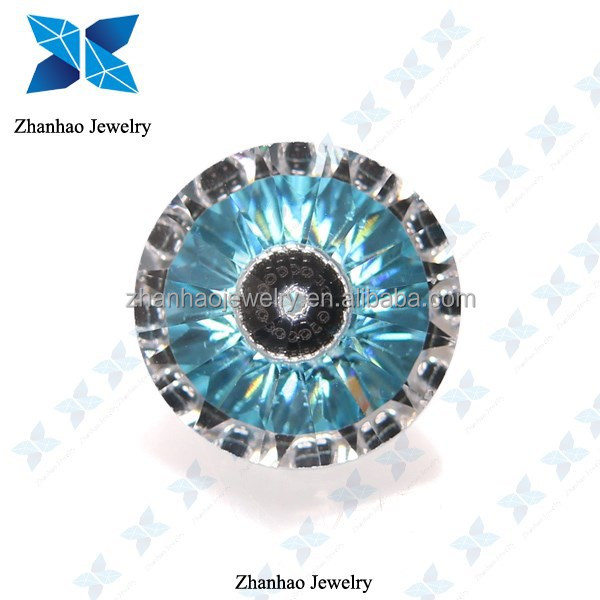 Loose Cubic Zirconia Aqua Blue Evil Eye Beads