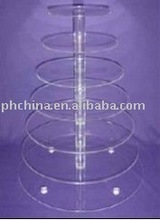 7 Tier Round FLAT-PACK Perspex Cupcake Stand;7 Tier 5mm Thick Clear Acrylic Round Maypole Cupcake Stand