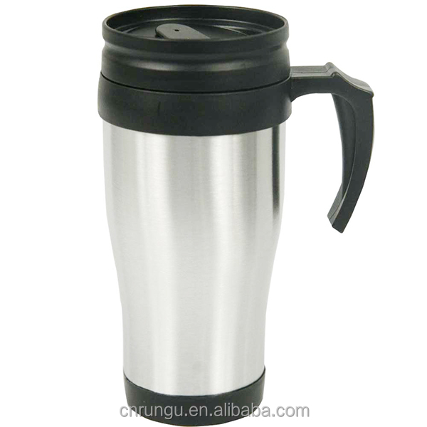 Plastic Inner Stainless Steel Coffee Travel Mug with Handle