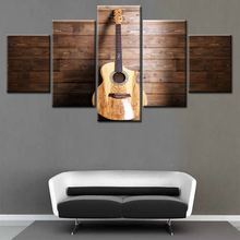 Music Art 5 Panel Wall Painting Modern Home Decors Black Burning Guitar Pop Art Pictures Decorn On Canvas Painting Printed