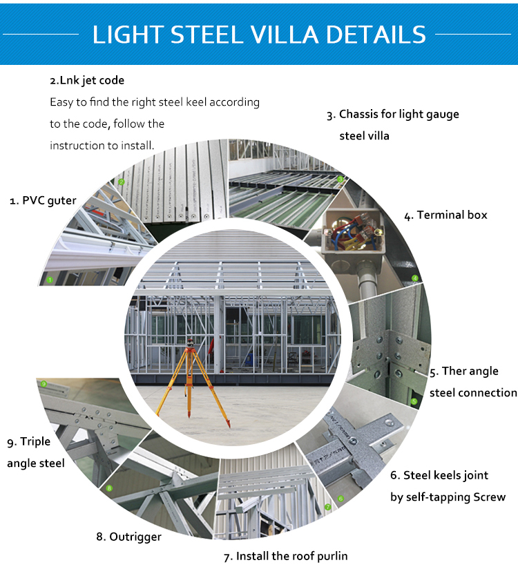 High set prefabricated light steel villa house for moisture area