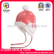 New fashion pompons baby winter hats with earflaps