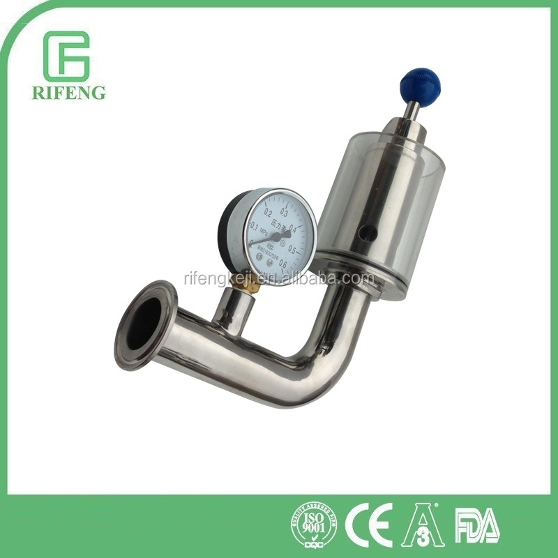 Sanitary Clamped Exhaust Valve With Gauge