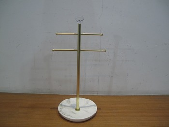 2 Tier Bangel Bar with Ceramic Round Base Jewelry Holder