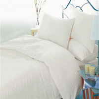Hotel white solid color cotton/polyester bedding sets fabric